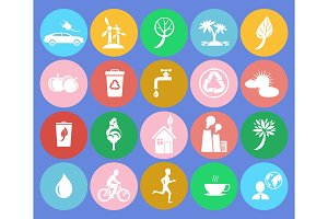 Ecology Saving Themed Round Colorful Icons
