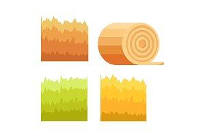Green Grass, Yellow Stack of Hay, Stump of Tree
