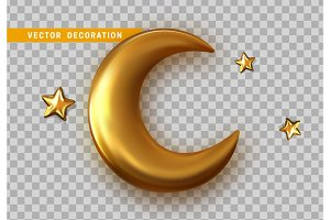 Golden crescent 3d object with transparent background effect.