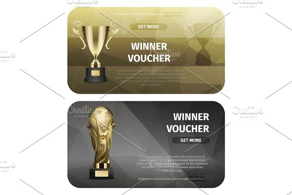 Two Cards Of Winner Voucher With Golden Goblets