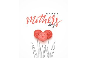 Happy Mother's day, greeting card with beautiful flowers in the style of paper art illustration