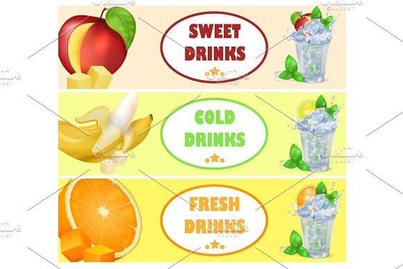 Sweet Cold Fresh Drinks With Tasty Juicy Fruits