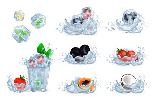 Refreshing Drink and Ingredients Illustrations Set