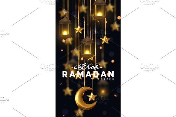 Ramadan Kareem Background Design Is Arabian Vintage Decorative Hanging Lamp With Bokeh