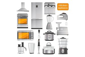Kitchen Electric Appliances Big Illustrations Set