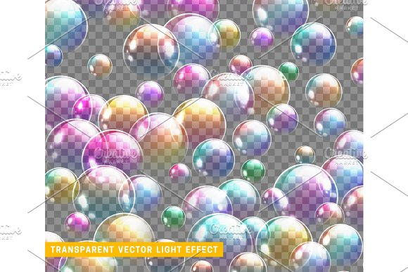 Bubbles Soap Realistic Set Isolated With Transparent Background Vector Illustration
