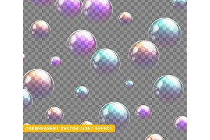 Bubbles soap realistic set isolated with transparent background vector illustration.