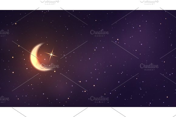 Crescent Moon On The Background Of Space With Bright Stars