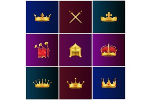 Royal Gold Medieval Attributes Illustrations Set