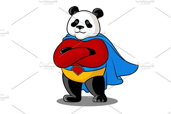 Panda Superhero Pop Art Vector Illustration