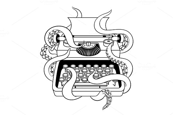 Typewriter With Octopus Coloring Book Vector
