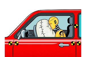 Crash test dummy pop art vector illustration