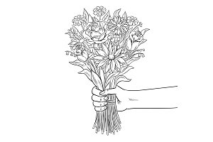 Hand with flower coloring book vector illustration