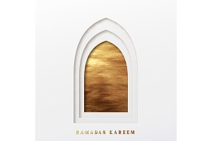 Arabic window design. Ramadan Kareem greeting card