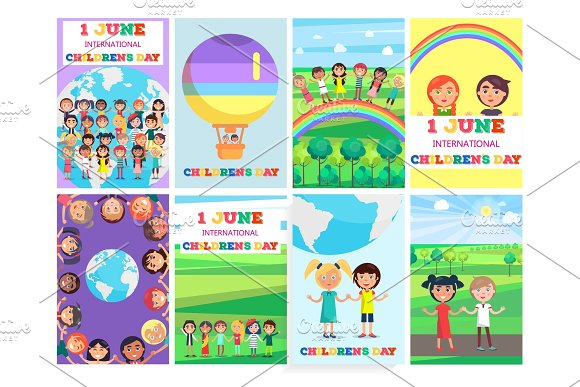 1 June Holiday Template With Colorful Posters Set