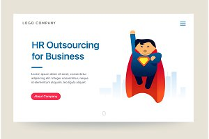 HR outsourcing company website template. Super hero illustration. Home page concept. UI design mockup.