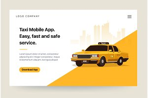 Taxi services mobile app website template. Retro yellow cab illustration. Home page concept. UI design mockup.