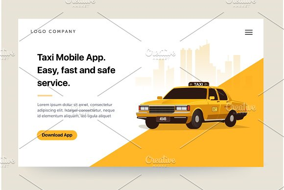Taxi Services Mobile App Website Template Retro Yellow Cab Illustration Home Page Concept UI Design Mockup