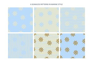 6 Seamless Patterns in Marine style