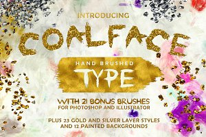 Coalface Font + Gold & Silver Styles
