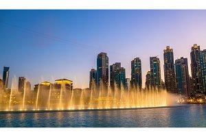 Choreographed Dubai Fountain in the evening - UAE
