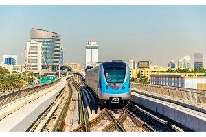 Metro train on the Red line in Dubai