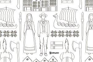 Norway icon set pattern