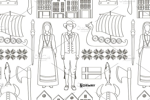 Norway Icon Set Pattern