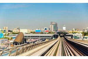 View of Al Jafiliya Metro Station in Dubai