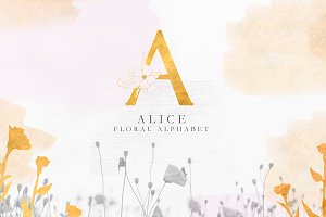 Floral alphabet - ALICE