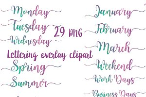 Word Art Clipart, days, months. . .