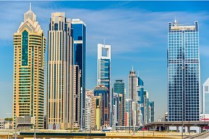 View of skyscrapers in Downtown Dubai - the UAE