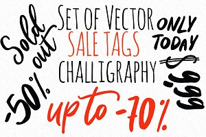 Set of vector sale tags challigraphy