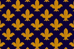 Golden embroidery royal lily pattern