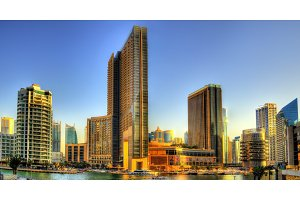 Buildings at Dubai Marina Canal - UAE