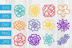 Hand Drawn Flower SVG Bundle