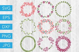 Hand Drawn Floral Wreaths SVG Bundle