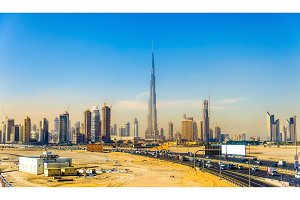 View of Dubai Downtown in United Arab Emirates