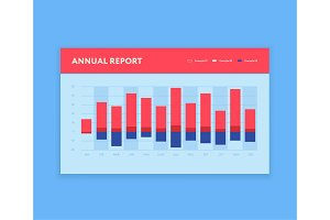 Modern bar graph template. Business infographic. Flat color style. Dashboard UI element.