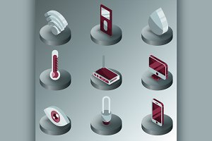 Smart home color isometric icons