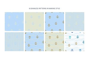 8 Seamless Patterns in Marine style