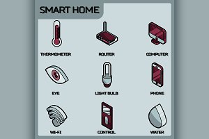 Smart home color outline isometric