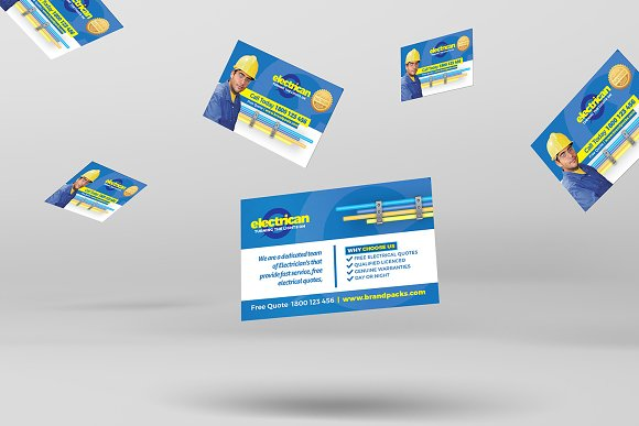 electrician business card template business card templates creative market - Electrician Business Cards
