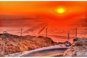 Sunset as seen from Jebel Hafeet mountain, UAE
