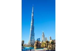 View of Burj Khalifa tower in Dubai, the UAE