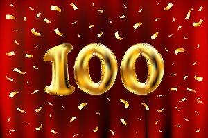 vector 100 celebration gold balloon