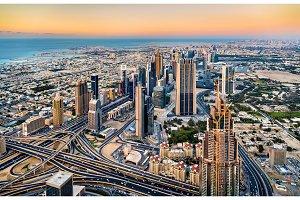 Downtown of Dubai as seen from Burj Khalifa tower