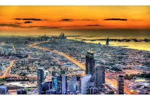 Sunset above Dubai - the United Arab Emirates