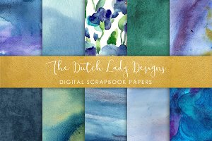 Blue Watercolor - Scrapbook Papers