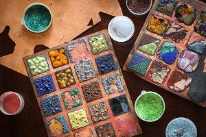 Multicolored enamel samples